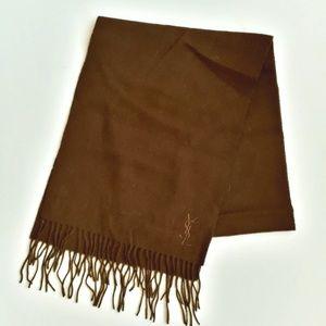 Yves Saint-Laurent Fringe Wool Scarf Brown